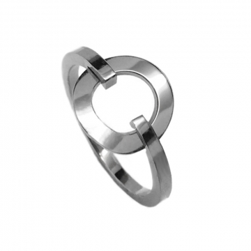 Womens Silver Open Circle Ring Stainless Steel (Sizes 5 - 9)