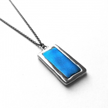 Silver and Blue Verticle Rectangle Pendant Necklace