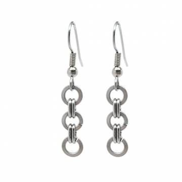 Brushed Steel Simple Chainmaille Dangle Earrings