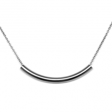 Womens Elegant Silver Bar Necklace 316L Stainless Steel