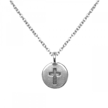 Small Round Silver Cross Charm Necklace