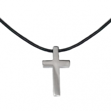 Small Mens Simple Stainless Steel Cross Necklace on Black Leather Cord