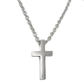 Small Mens Simple Stainless Steel Cross Pendant on Stainless Steel Necklace Chain