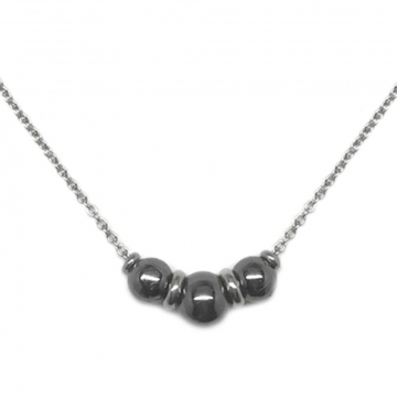 Stainless Steel Three Bead Necklace Black and Silver