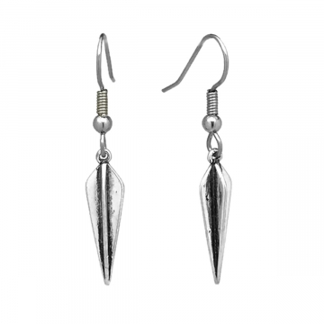 Womens Antiqued Silver Stake Dagger Earrings