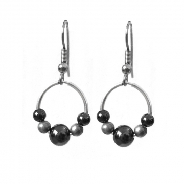 Silver and Black Round Bead Earrings Stainless Steel