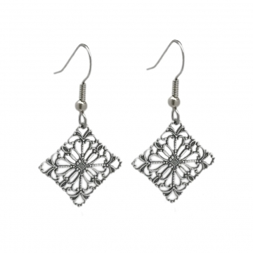 Diamond Shaped Antiqued Filigree Earrings