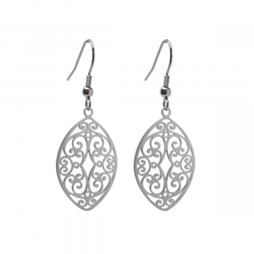 Stainless Steel Pointed Oval Filigree Swirl Dangle Earrings