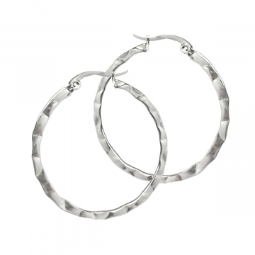 Hammered Texture Circle Hoop Earrings for Women Stainless Steel - 35mm