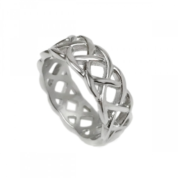 Mens Stainless Steel Endless Love Braided Band Ring (Size 8 - 13)