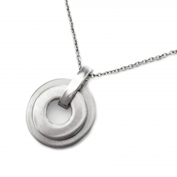 Brushed Stainless Steel Two Circle Pendant Eternity Necklace (16-24 Inch Chain)