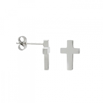 Small Plain Silver Cross Stud Earrings Stainless Steel
