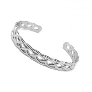 Braided Silver Stainless Steel Infinity Cuff Bangle Bracelet for Women