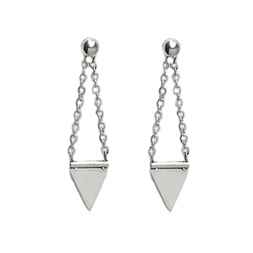 Triangle Chain Dangle Stud Earrings Stainless Steel