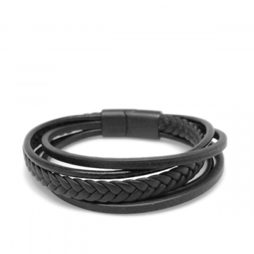 Unisex Layered Black Genuine Leather Braided Bracelet with Stainless Steel Magnetic Clasp