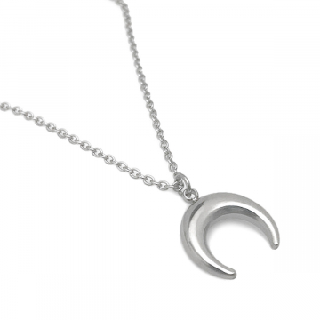 Upside Down Crescent Moon Necklace Stainless Steel