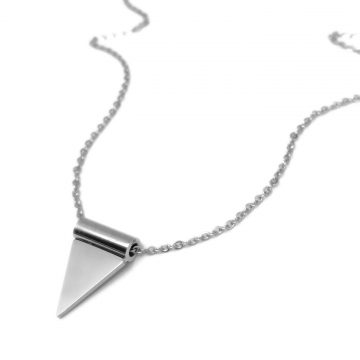 Minimalist Small Stainless Steel Silver Triangle Pendant Necklace