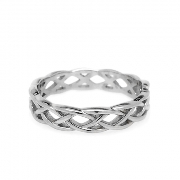 Womens Stainless Steel Endless Love Braided Band Ring