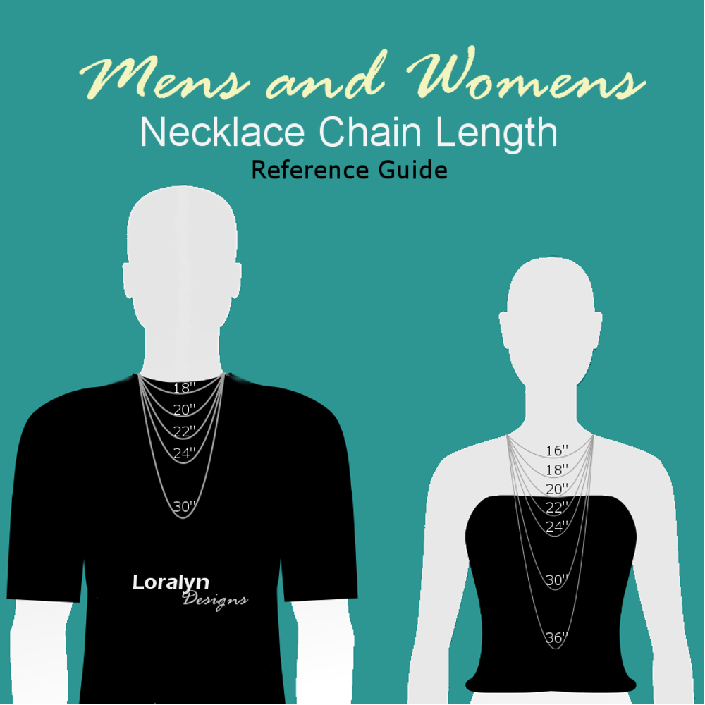 Standard chain length chart diagram loralyn designs loralyn designs mens and womens necklace length chart picture ccuart Choice Image