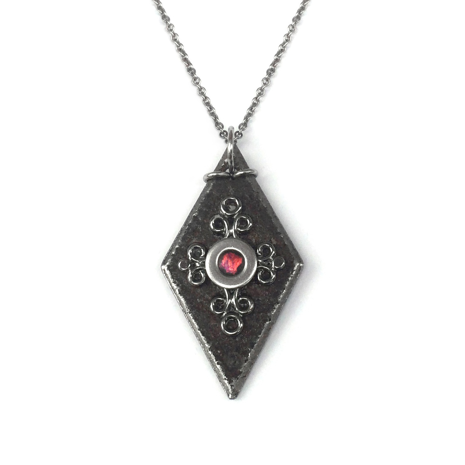 Medieval diamond shaped black iron pendant necklace loralyn designs aloadofball Image collections