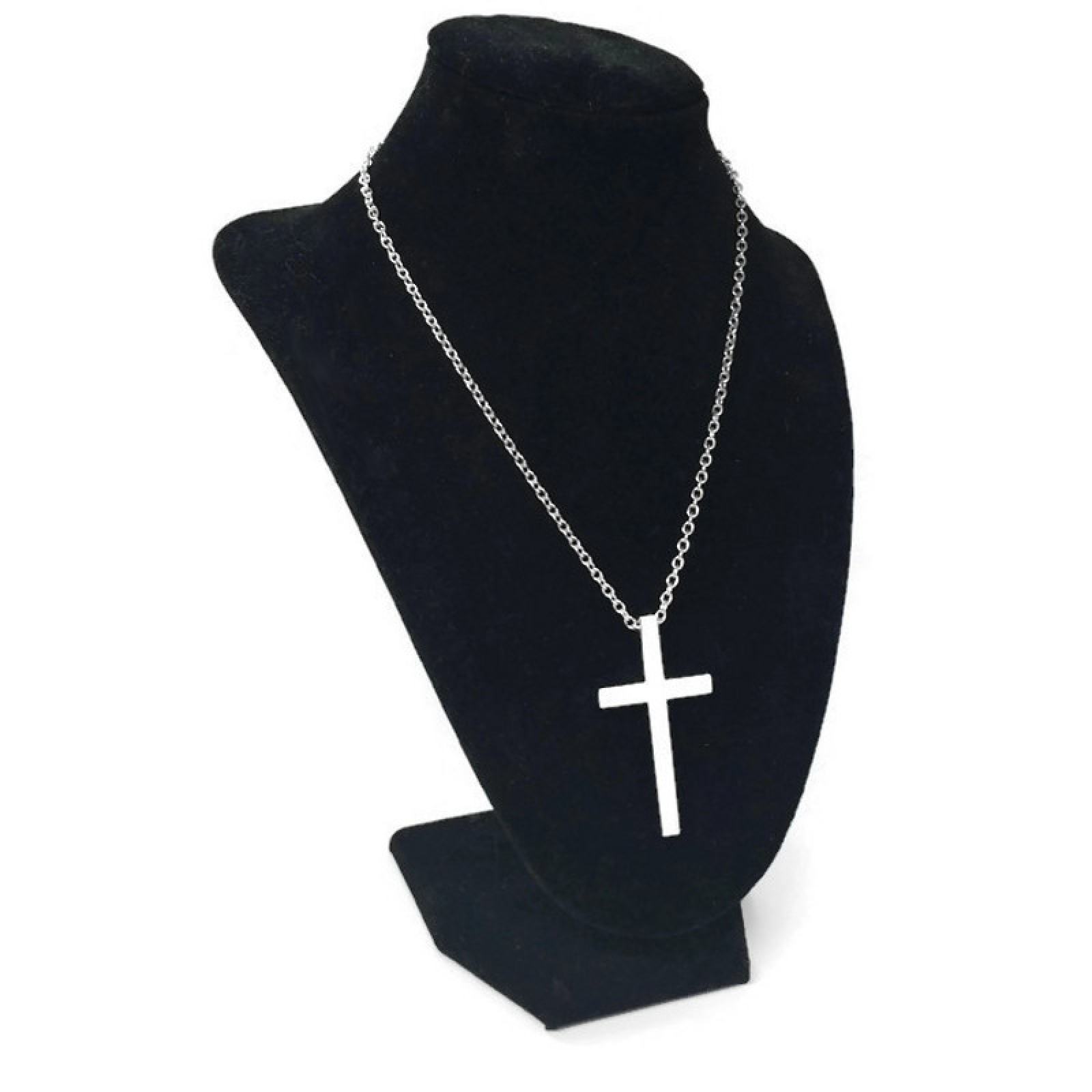 Black Cross With Silver Ring Necklace