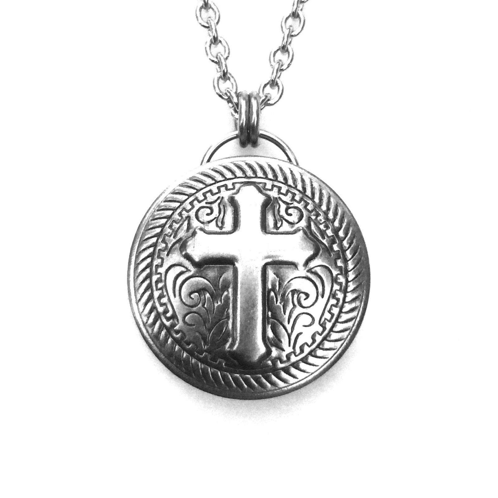 Preferred Motorcycle Jewelry Cross Silver Stainless Steel Round Pendant  HU62