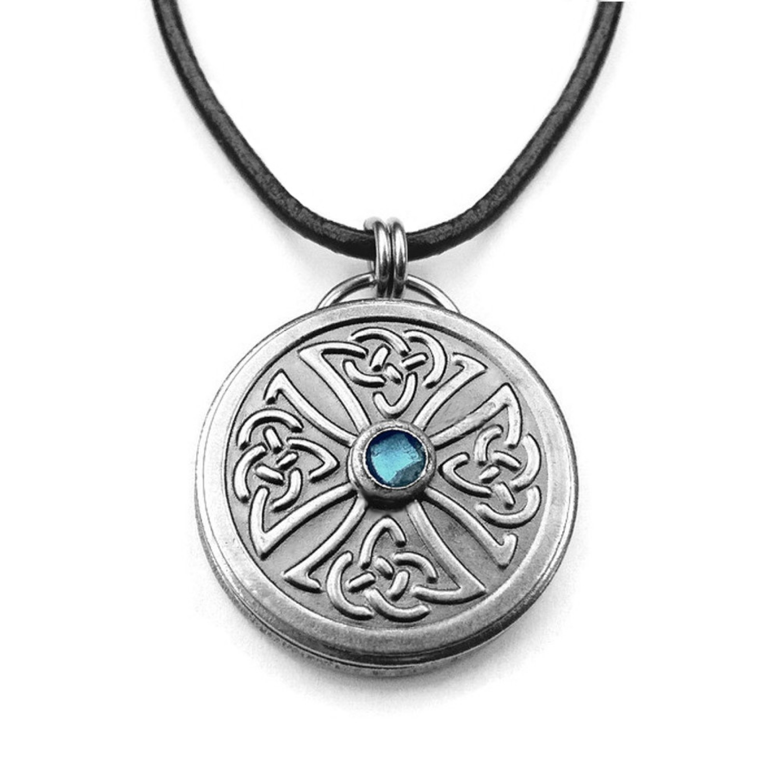 Brand-new Irish Celtic Knot Necklace for Man on Black Leather Necklace Chain  RM13